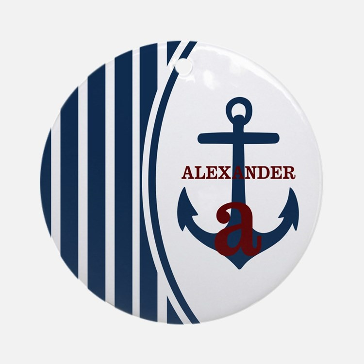 Anchor and Stripes Monogram Ornament (Round)