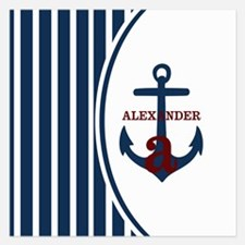 Anchor and Stripes Monogram Invitations