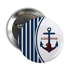 """Anchor and Stripes Monogram 2.25"""" Button (10 pack)"""
