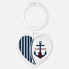 Anchor and Stripes Monogram Heart Keychain