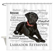 Black Lab Traits Shower Curtain