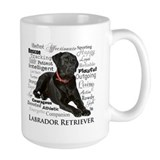 Black labrador Large Mugs (15 oz)