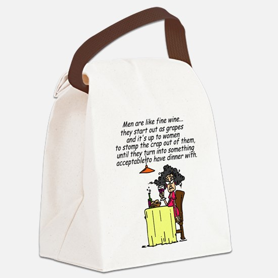 Men and Fine Wine Canvas Lunch Bag