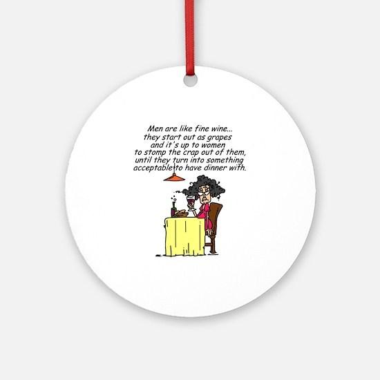 Men and Fine Wine Ornament (Round)