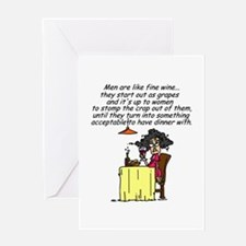 Men and Fine Wine Greeting Card