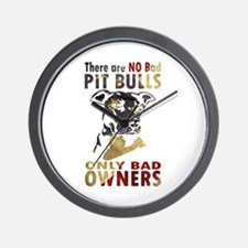 NO BAD PIT BULLS AF4 Wall Clock