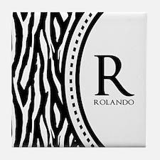 Trendy Animal Print Monogram Tile Coaster