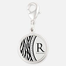 Trendy Animal Print Monogram Silver Round Charm