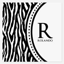 Trendy Animal Print Monogram 5.25 x 5.25 Flat Card