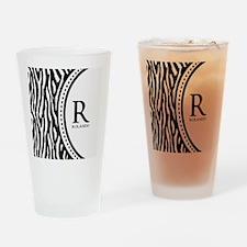 Trendy Animal Print Monogram Drinking Glass