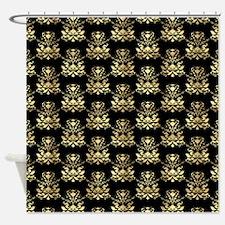 Elegant Gold and Black Damask Pattern Shower Curta