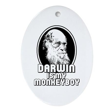 Darwin is my Monkeyboy Oval Ornament