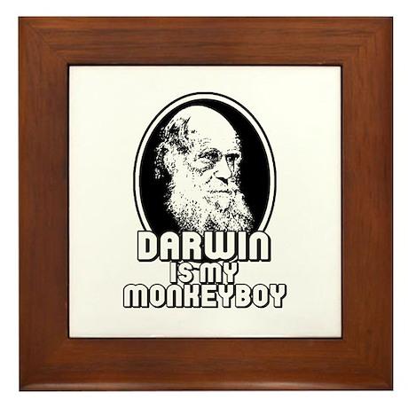 Darwin is my Monkeyboy Framed Tile