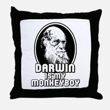 Darwin is my Monkeyboy Throw Pillow