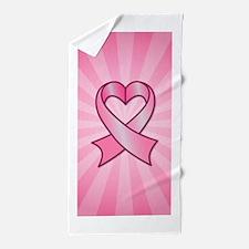 Breast Cancer Heart Ribbon Beach Towel
