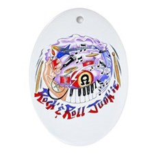 Rock and Roll Junkie Oval Ornament