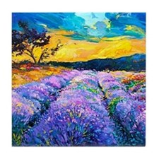 Lavender Fields Painting Tile Coaster