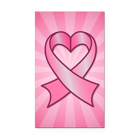 Breast Cancer Heart Ribbon Rectangle Car Magnet