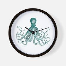 Dark Teal Octopus Wall Clock