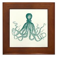 Dark Teal Octopus Framed Tile