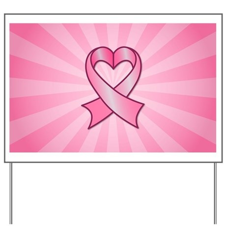 Breast Cancer Heart Ribbon Yard Sign