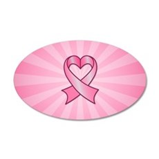 Breast Cancer Heart Ribbon Wall Decal