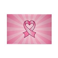 Breast Cancer Heart Ribbon Magnets