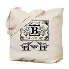 Letter B Ornate Circus Elephants Monogram Tote