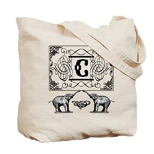 Letter C Ornate Circus Elephants Monogram Tote