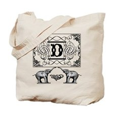 Letter D Ornate Circus Elephants Monogram Tote