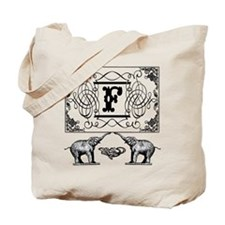 Letter F Ornate Circus Elephants Monogram Tote