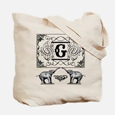 Letter G Ornate Circus Elephants Monogram Totebag