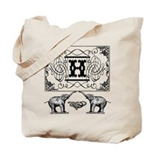 Letter H Ornate Circus Elephants Monogram Totebag