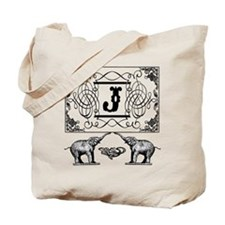 Letter J Ornate Circus Elephants Monogram Totebag
