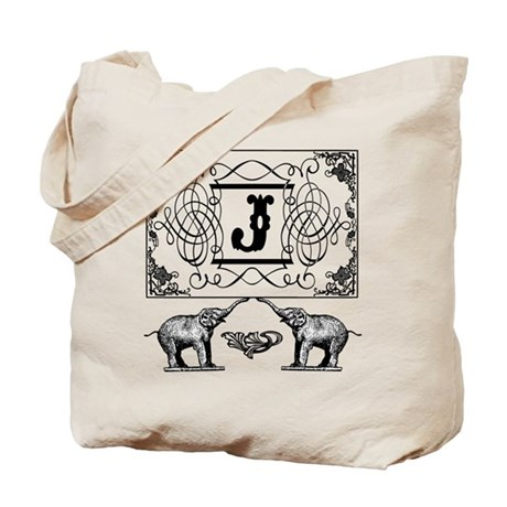 Letter J Ornate Circus Elephants Monogram Totebag