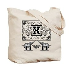 Letter K Ornate Circus Elephants Monogram Totebag