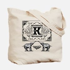 Letter K Ornate Circus Elephants Monogram Totebag