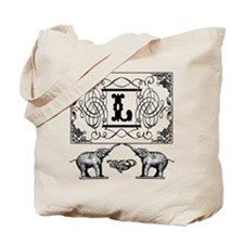 Letter L Ornate Circus Elephants Monogram Totebag