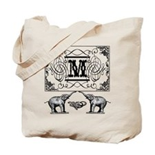 Letter M Ornate Circus Elephants Monogram Totebag