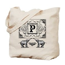 Letter P Ornate Circus Elephants Monogram Totebag