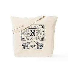 Letter R Ornate Circus Elephants Monogram Tote Bag