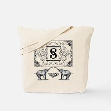 Letter S Ornate Circus Elephants Monogram Tote Bag