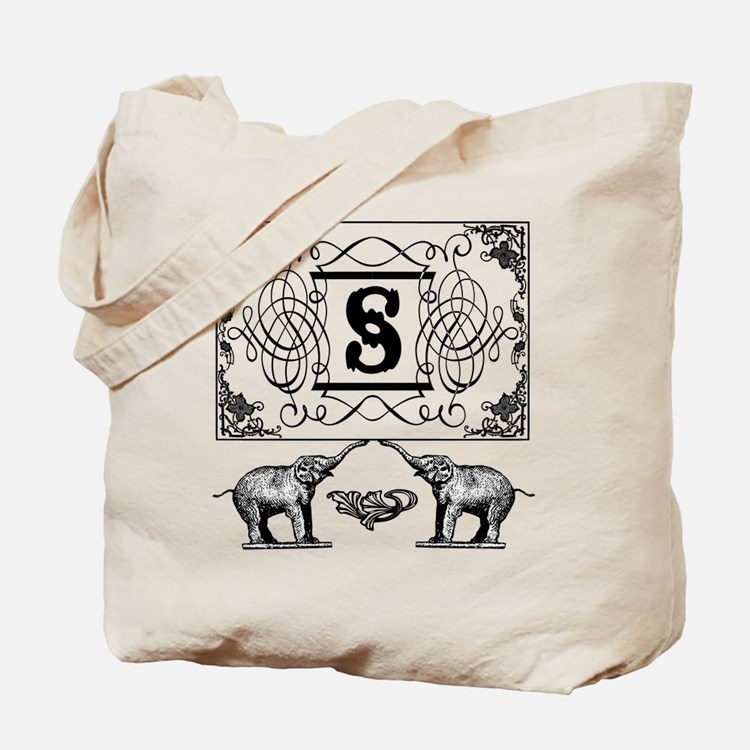 Letter S Ornate Circus Elephants Monogram Tote Bag