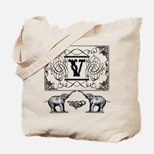 Letter V Ornate Circus Elephants Monogram Tote Bag