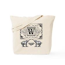 Letter W Ornate Circus Elephants Monogram Tote Bag