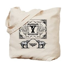 Letter Y Ornate Circus Elephants Monogram Tote Bag