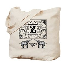 Letter Z Ornate Circus Elephants Monogram Tote Bag
