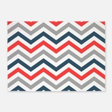 Red, Gray, Navy chevrons 5'x7'Area Rug