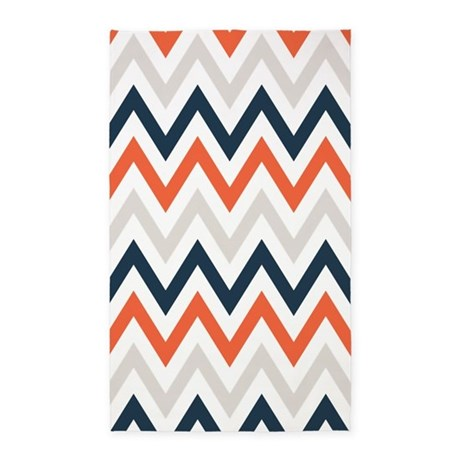 Orange Gray Navy Chevrons 3 X5 Area Rug By Retroculture