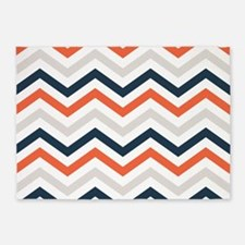 orange, Gray, Navy chevrons 5'x7'Area Rug